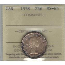 Canada 1958 Silver 25 Cents ICCS MS65