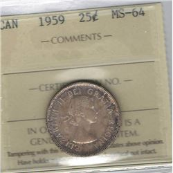 Canada 1959 Silver 25 Cents ICCS MS64
