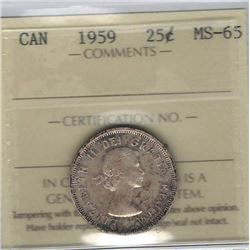 Canada 1959 Silver 25 Cents ICCS MS65