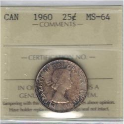 Canada 1960 Silver 25 Cents ICCS MS64