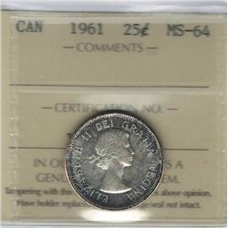Canada 1961 Silver 25 Cents ICCS MS64