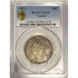 Canada 1871 Silver 50 Cents PCGS VF30