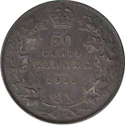 Canada 1913 Silver 50 Cents