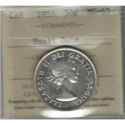 Canada 1953 Small Date Silver 50 Cents ICCS MS63