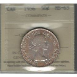 Canada 1956 Silver 50 Cents ICCS MS63