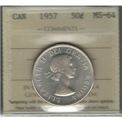 Canada 1957 Silver 50 Cents ICCS MS64
