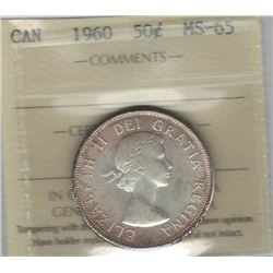 Canada 1960 Silver 50 Cents ICCS MS65