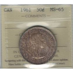 Canada 1961 Silver 50 Cents ICCS MS65