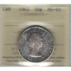 Canada 1963 Silver 50 Cents ICCS MS65