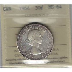 Canada 1964 Silver 50 Cents ICCS MS64