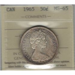 Canada 1965 Silver 50 Cents ICCS MS65