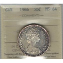 Canada 1966 Silver 50 Cents ICCS MS64