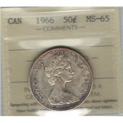 Canada 1966 Silver 50 Cents ICCS MS65