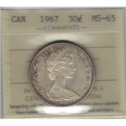 Canada 1967 Silver 50 Cents ICCS MS65
