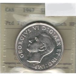 Canada 1947 Pointed 7 Silver Dollar ICCS MS63