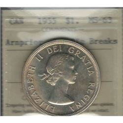 Canada 1955 Arnprior with Die Breaks Silver Dollar ICCS MS63