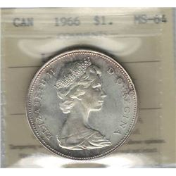 Canada 1966 Silver Dollar ICCS MS64 Large Beads