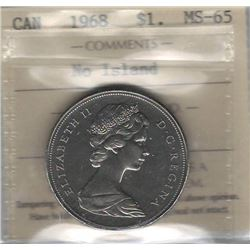 Canada 1968 Nickel Dollar ICCS MS65 No Island