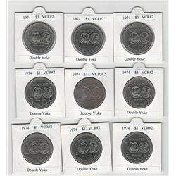 Canada 1974 Nickel Dollars. Lot of 9 Double Yoke Varieties