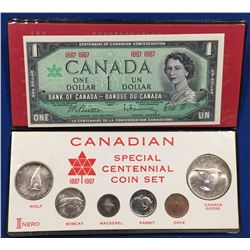 Canada 1967 Special Centennial Coin Set with Banknote