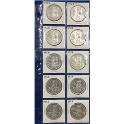 Canada Lot of 10 Silver Dollars from 1958