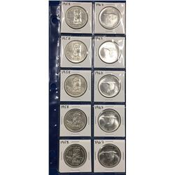 Canada Lot of 10 Silver Dollars 1958 & 1967s