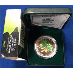 Canada 2002 $5 Green Coloured 1 oz Silver Spring Maple Leaf