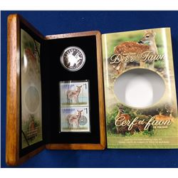 Canada 2005 $5 Limited-Edition Stamp & Coin Set. White-Tailed Deer & Fawn