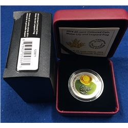Canada 2014 25 Cent Water-lily and Leopard Frog Coin
