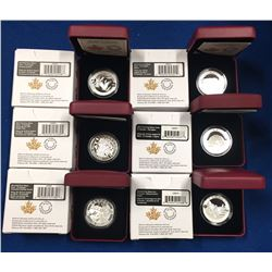 Canada 2014 $10 1/2 oz Pure Silver Coins. 6 coins all in individual boxes.