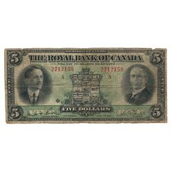 Canada Royal Bank 1927 $5 Banknote
