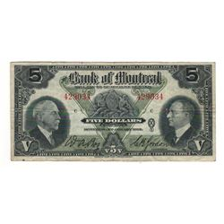 Canada Bank of Montreal 1935 $5 Banknote