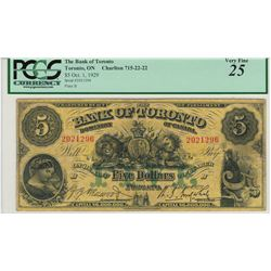 Canada Bank of Toronto 1929 $5 Banknote PCGS VF25