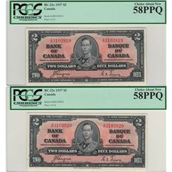 Canada 1937 $2 Banknote 2 in Sequence PCGS AU58 PPQ A/R