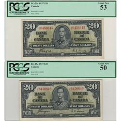 Canada 1937 $20 Banknote 2 in Sequence PCGS AU50 & AU53