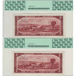Canada 1954 $2 Banknote Devils Face 2 in Sequence PCGS UNC61 & 62 PPQ
