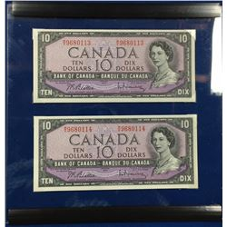 Canada 1954 $10 Banknotes. 2 in Sequence in Plastic Display