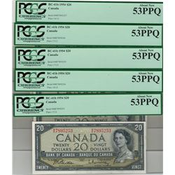 Canada 1954 $20 Banknote 5 in Sequence PCGS AU53 PPQ