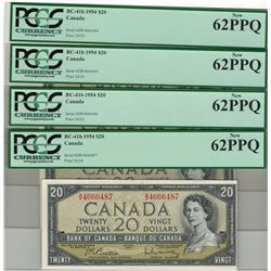 Canada 1954 $20 Banknote 4 in Sequence PCGS UNC62 PPQ