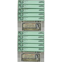 Canada 1954 $20 Banknotes 10 in Sequence PCGS UNC PPQ