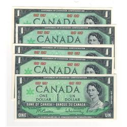 Canada 1867 to 1967 $1 Banknotes (8 in Lot)