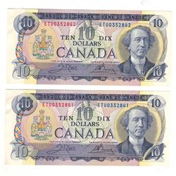 Canada 1971 $10 Banknotes (2 in Sequence)