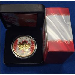 Canada 2015 $5 Maple Leaf with Flag Gold Plated Coloured Coin