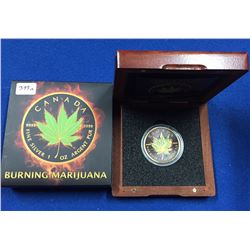 Canada 2017 $5 1 oz  Maple Leaf - Burning Marijuana Silver Coin