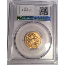 Canada 1911-C Gold Sovereign PCGS MS62