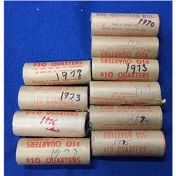 Canada Lot of 10 Original 25 Cent Rolls