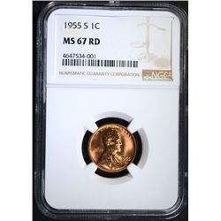 1955-S LINCOLN CENT, NGC MS-67 RED