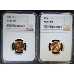 2 - 1936 LINCOLN CENT NGC MS 66RD