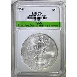 2001 AMERICAN SILVER EAGLE, PCSS PERFECT GEM BU