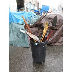 Bin of Garden Tools Shovels & More